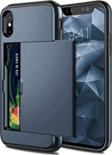 Olliwon Protective Case Cover With Wallet Card Holder For Apple iPhone Xs Max Dark Blue