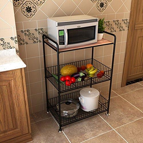 CHGDFQ Estante de Cocina de 3 Niveles para Piso, Estante de Almacenamiento de Horno de microondas de Acero al Carbono Negro, Cesta de Malla de Frutas Vegetales de Gran Capacidad