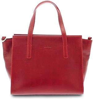 GIUDI ® - Borsa Donna in pelle vacchetta, vera pelle, tracolla, a mano,Made in Italy. (Rosso)