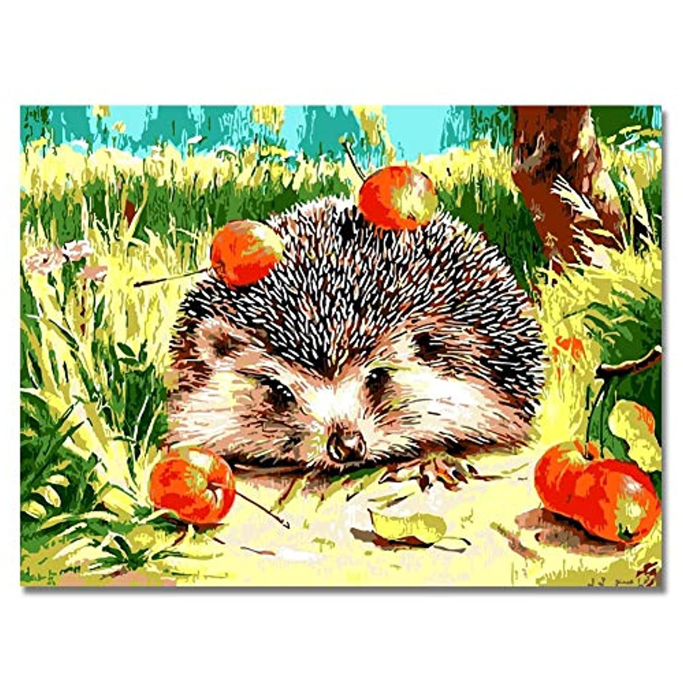 Rihe Hedgehog DIY Oil Painting Paint By Number Kit-Animal Theme 16x20 Inch (Frameless)