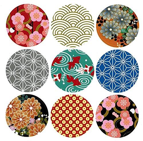 ALIMITOPIA Japan Style Sealing Sticker,Round Japanese Traditional Pattern Self-Adhesive Universal Sealing Paster Gift Packing Decorative Labels Envelope Seals(10 Sheets,90pcs)