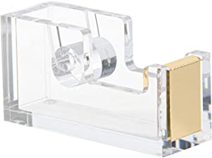 Punch & Stick   Gold Acrylic Lucite Tape Dispenser   Designer Office Supplies   Office Desk Accessory   Clear Stationery   Elegant Office Desk Gift