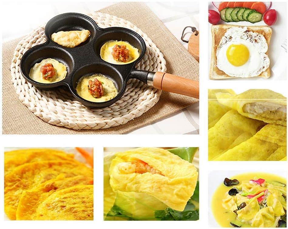 Yxxc Poêle à Oeufs en Fonte, 3/4 Grilles Cuiseur à Oeufs Frits, Poêle à Omelette à Crêpes Induction, Sauver l'huile Alimentaire, Noir 20cm C