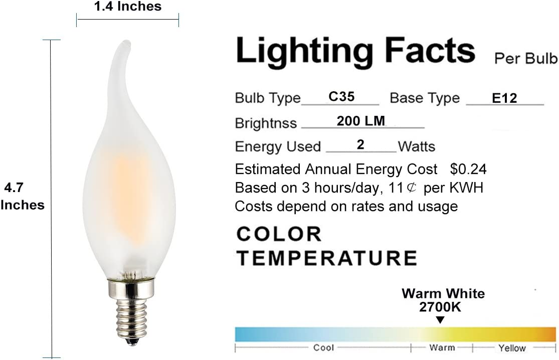 LED Candelabra Bulb Flame Tip Frosted Glass 25W Incandescent Replacement 3-Pack E12 Small Base OPALRAY C35 2W 2700K Warm White Light Excellent Dimming Performance Dimmable