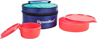 Signoraware New Classic Round Small Plastic Lunch Box Set with Bag, 2-Pieces, Red
