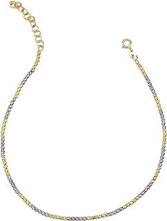 Cavigliera in oro bianco e giallo da donna. Tutto oro 14K, peso gr 3,9