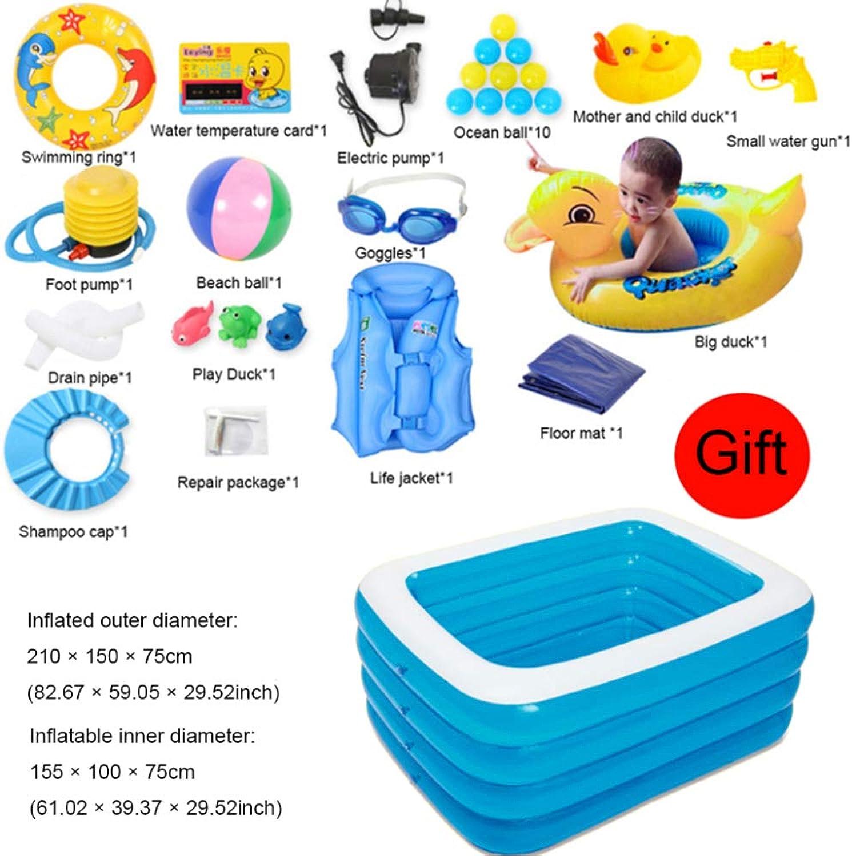 QIAOY Familien-Fun-Lounge-Pool 4-Ring-Planschbecken Patch Reparieren Ocean Play Center Schwimmen Sie Strand Spielzeug,Blau-210×150×75cm