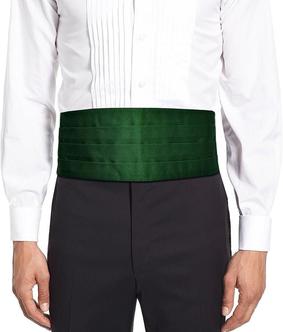 Remo Sartori Made in Italy Men's Solid Color Cummerbund Tuxedo Belt, 4 Folded, Silk
