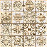 16 Pezzi Stencil Mandala, Stencil per Pittura Riutilizzabili Mandala Templates Punteggiatura Modello di Pittura Piastrelle Plastica Stencil per Pareti Mobili DIY Scrapbook (15 x 15 cm)