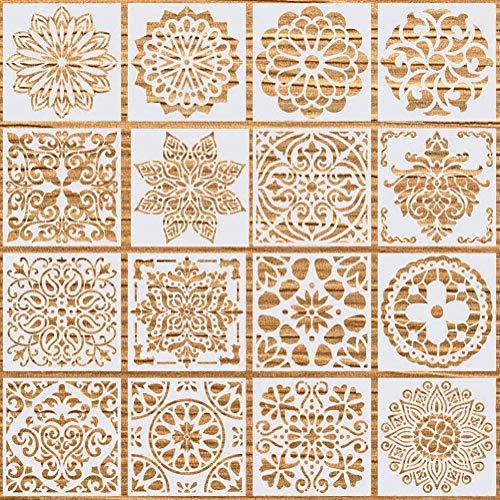 YXHZVON 16Stk Mandala Schablonen, Wiederverwendbare Airbrush Schablonen Mandala Dotting Malvorlage Basteln Fliesen Schablonen Vintage für DIY Wände Kunst Malschablonen (5,9 x 5,9 Zoll)