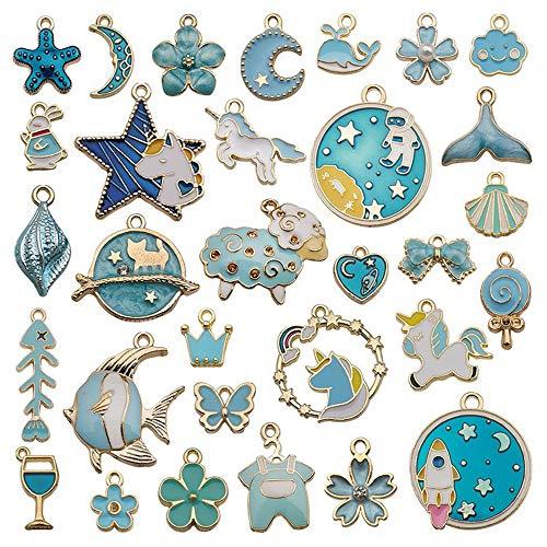 DIY Colgante Esmalte Accesorios de Joyería,Lago Azul Unicornio Luna Estrella Pendientes Collar Colgante,Collar Pulsera Pendientes Joyería Fabricación Accesorios para Favores de Fiesta y Boda,31 Piezas