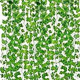 Artificial hiedra, Outgeek 12 hilos 79 pies de seda falso hojas de hiedra colgante de vid hojas de guirnalda para el banquete de boda jardín decoración de la pared