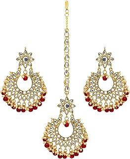 Jaipur Mart Alloy Metal Kundan Earrings Maang Tikka Jewellery Set (KDTE20$P)
