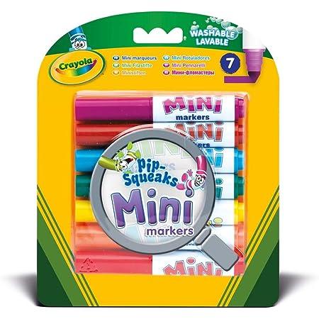 CRAYOLA- 7 Mini Pennarelli Lavabili, Formato Pocket, Punta Maxi, Colori Assortiti, per Scuola e Tempo Libero, 7 Pezzi, 8337
