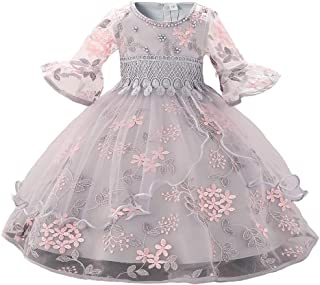 Girls' Lace Princess Wedding Baptism Dress Long Sleeve Formal Party Wear for Toddler Baby Girl