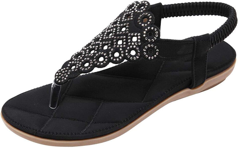 FINDYOU Women's Sandals Summer Gladiator Elastic Rome Rhinestone Bohemian Flat shoes Beach Flip Flops Sandal Low Heel