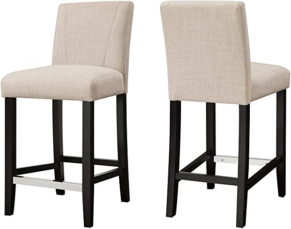 Eldridge Upholstered Dining Parson Stools Ivory And Brown Set Of 2