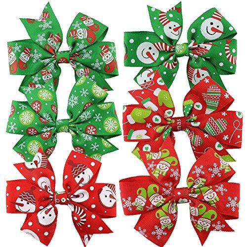 HABI 6 stk mehrfarbig Haarspange Haarklammer Fliege Schleife mit den specialen Weihnachten Mustern für Mädchen Damen