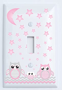 Grey And Pink Owl Light Switch Plate Covers Single Toggle Owl Nursery Decor Baby