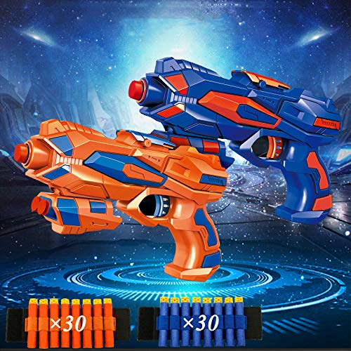 2 Pack Blaster Guns, Toy Guns for Boys with 60 Pcs Refill Soft Foam Darts and 2 EVA Wrist Band Gun Accessories, Suitable for 4-10 Years Old Children's Hand Gun Toys or Birthday Gifts (Blue&Orange)