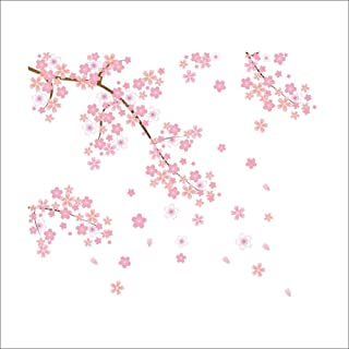 ZOOYOO Beautiful Sakura Flowers Art Wall Stickers and Decals Fashion Design DIY Wall Decoration Removable Wall Paper Mural for House Home Babyroom Living Room Decoration