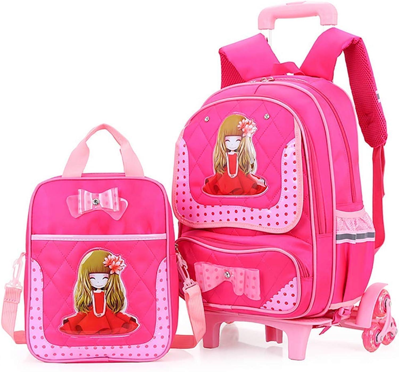 QCC& Schn Mdchen Trolley Schulrucksack - Wasserdicht Entfernbar Sicherheit Reflektierend Rollschultasche 2 Stück Mit Handtasche Mittagessen Taschen