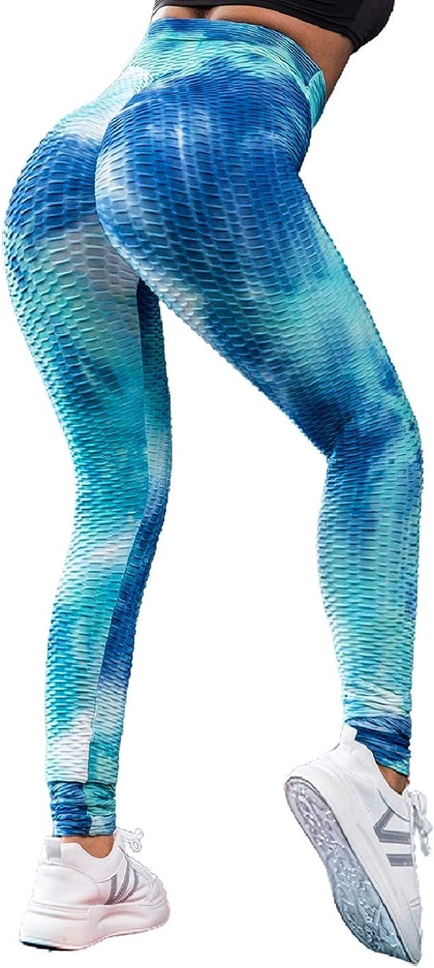 Voqeen Pantalones de Adelgazantes Mujer Leggins Reductores Adelgazantes Leggings Pantalones de yoga tie-dye Anticeluliticos Cintura Alta Mallas Fitness Push Up para Deporte Mallas Pantalones