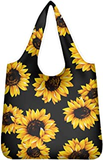 chaqlin Sunflower Print Women's Polyester Tote Top-Handle Handbag Shoulder Shopping Travel Bag