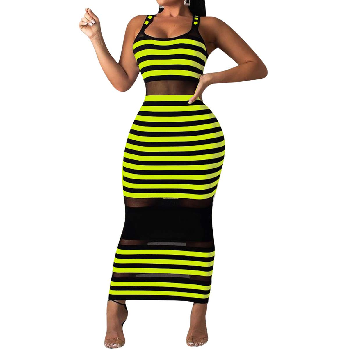 Available at Amazon: Salimdy Bandage Dresses for Women - Sexy Long Sleeve Floarl Leopard Print Mesh Bodycon Long Party Club Sheath Dress