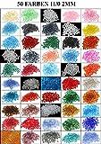1 Kilo Rocailles 2mm 50 Pack 50 Farben Glas PERLEN