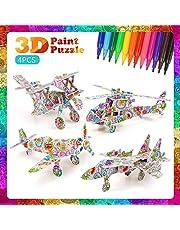DIY Arts Crafts Puzzle Kit Regalo de juguete para niños Niñas Niños Kit de manualidades de pintura educativa Regalo de cumpleaños Juguete para niños Niños con 4 animales Rompecabezas con12 rotuladores