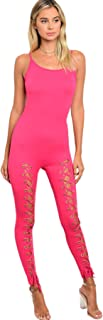 Imaginary Diva Women's Sexy Pink Fuschia Tank Lace Up One-Piece Jumpsuit Bodysuit