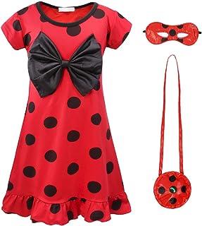 AmzBarley Miraculous Ladybug Kostüm Kleid Kinder Mädchen Marienkäfer Cosplay Kleider Schick Party Ankleiden Halloween Karneval Geburtstag Kleidung