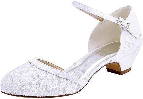 Qiusa MesLes dames Fermé Toe Toe Boucle Dentelle Chunky Talon Bas Chaussures De Mariage De Mariée (Couleuré   Ivory-4cm Heel, Taille   8 UK)