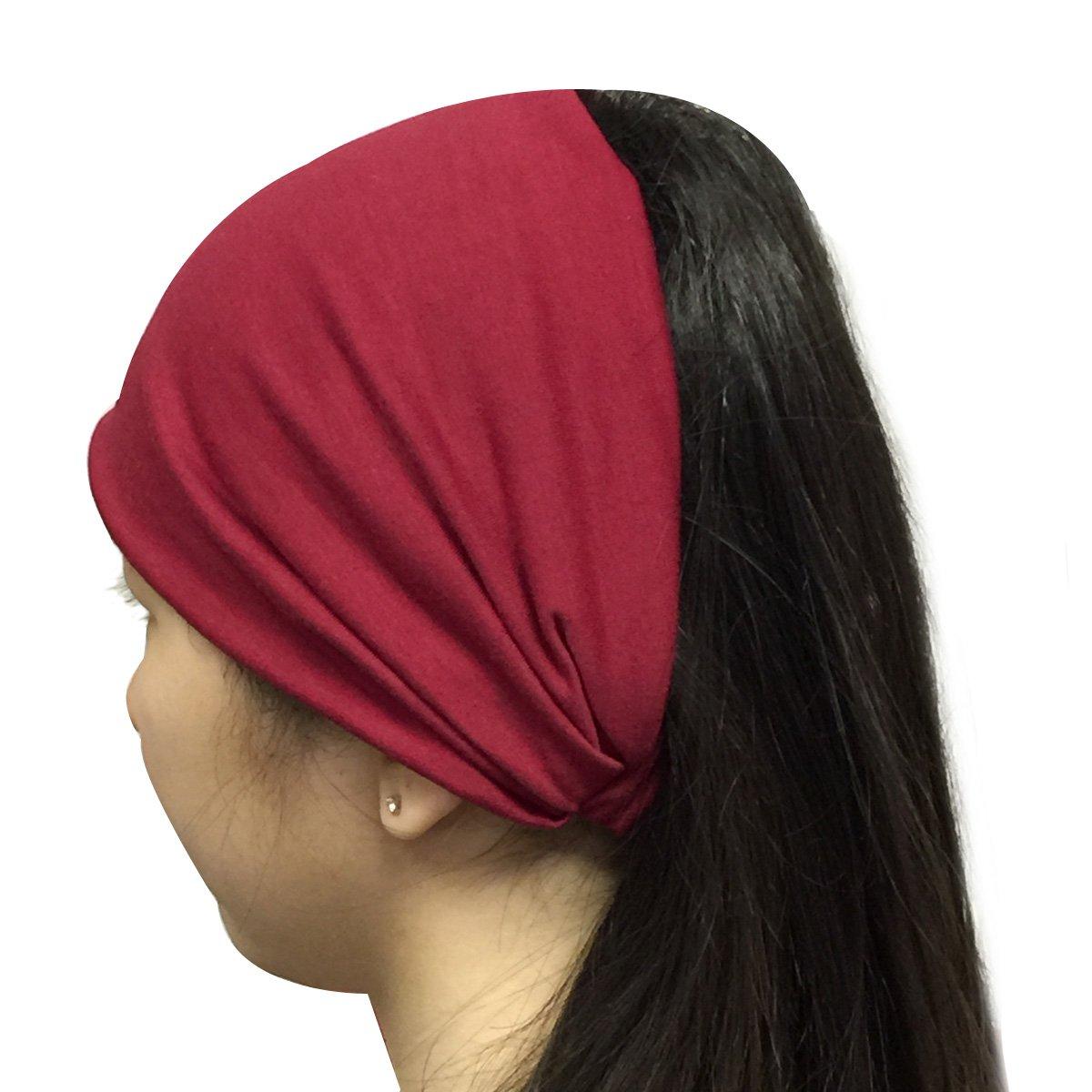 Wrapables Wide Fabric Headband, Burgundy