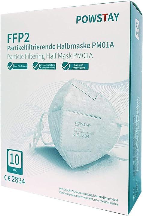 Mascherina ffp2 - ce 2834, filtrazione a 5 strati, 10 pezzi  - easychee FFPM01A10