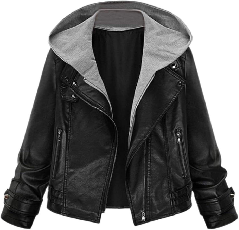 Doanpa Women's Hoodie Fitted Zipper PlusSize Skinny Leather Trench Coat