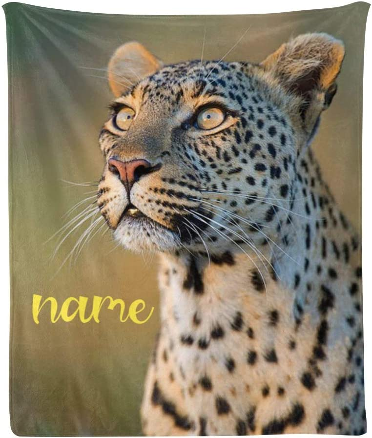 Custom Blanket with Name Text Personalized Animal 70%OFFアウトレット Funny Leopard 高品質