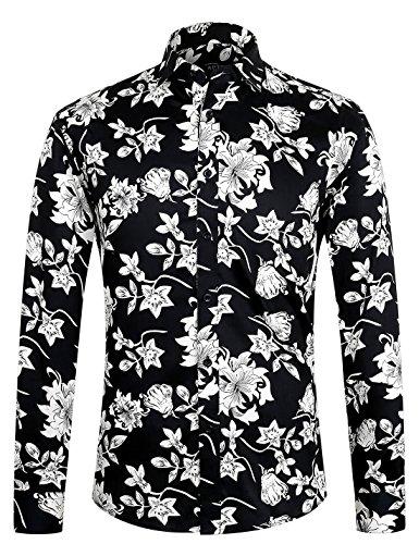 APTRO Herren Hemd Urlaub Blumen Hemd Langarm Schwarz 1107 XL