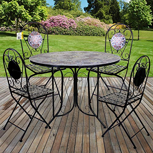 Marko Mosaic Bistro Set 90cm Vigo Outdoor Garden Furniture