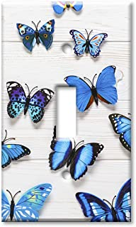 Art Plates 1-Gang Toggle OVERSIZED Switch Plate/OVER SIZE Wall Plate - Blue Butterflies on Wood