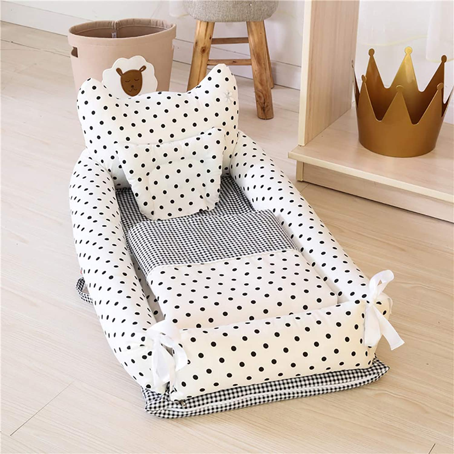 Baby Lounger Baby Bassinet for Bed Breathable Hypoallergenic 100% Cotton Portable Crib for Bedroom & Travel Newborn Super Soft