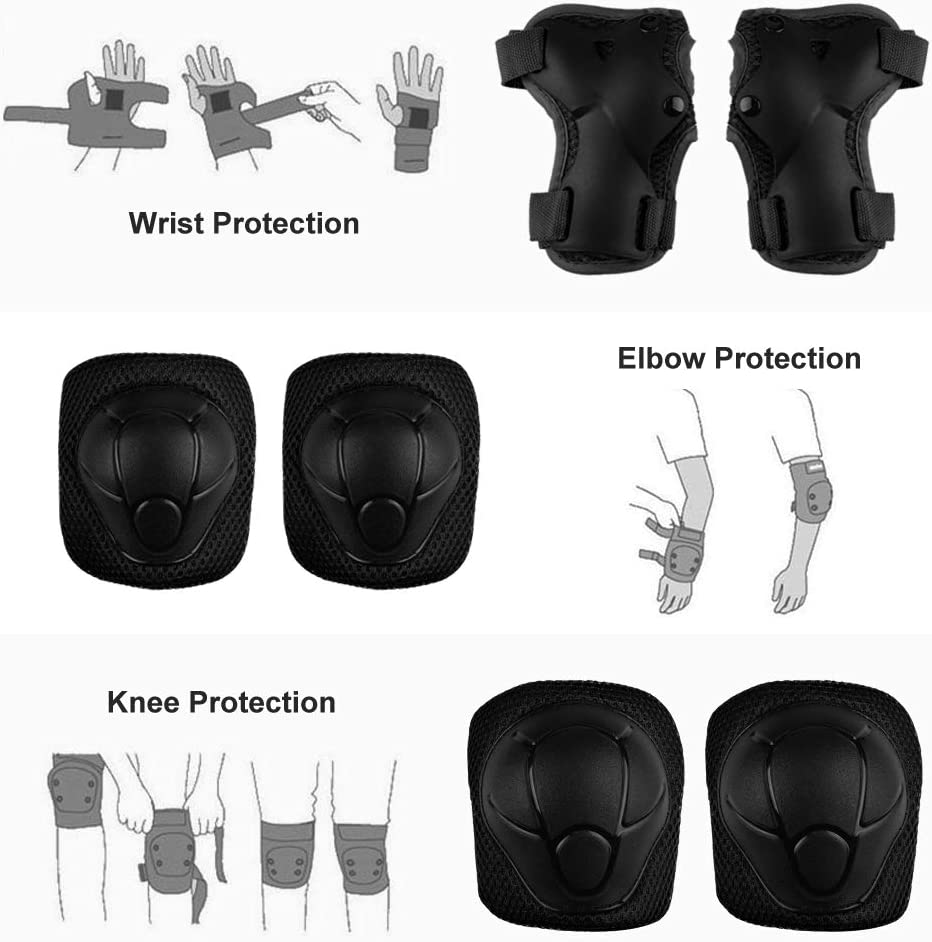 Adjustable Strap 6pcs Knee Pads and Elbow Pads with Wrist Guard for Skating Cycling Bike Rollerblading Scooter FESSKY Kids Protective Gear Set