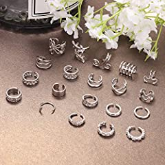 Milacolato 20Pcs Adjustable Ear Cuffs Earrings Set for Women Stainless Steel Non-Piercing Cartilage Clip On Wrap Earring Set #5
