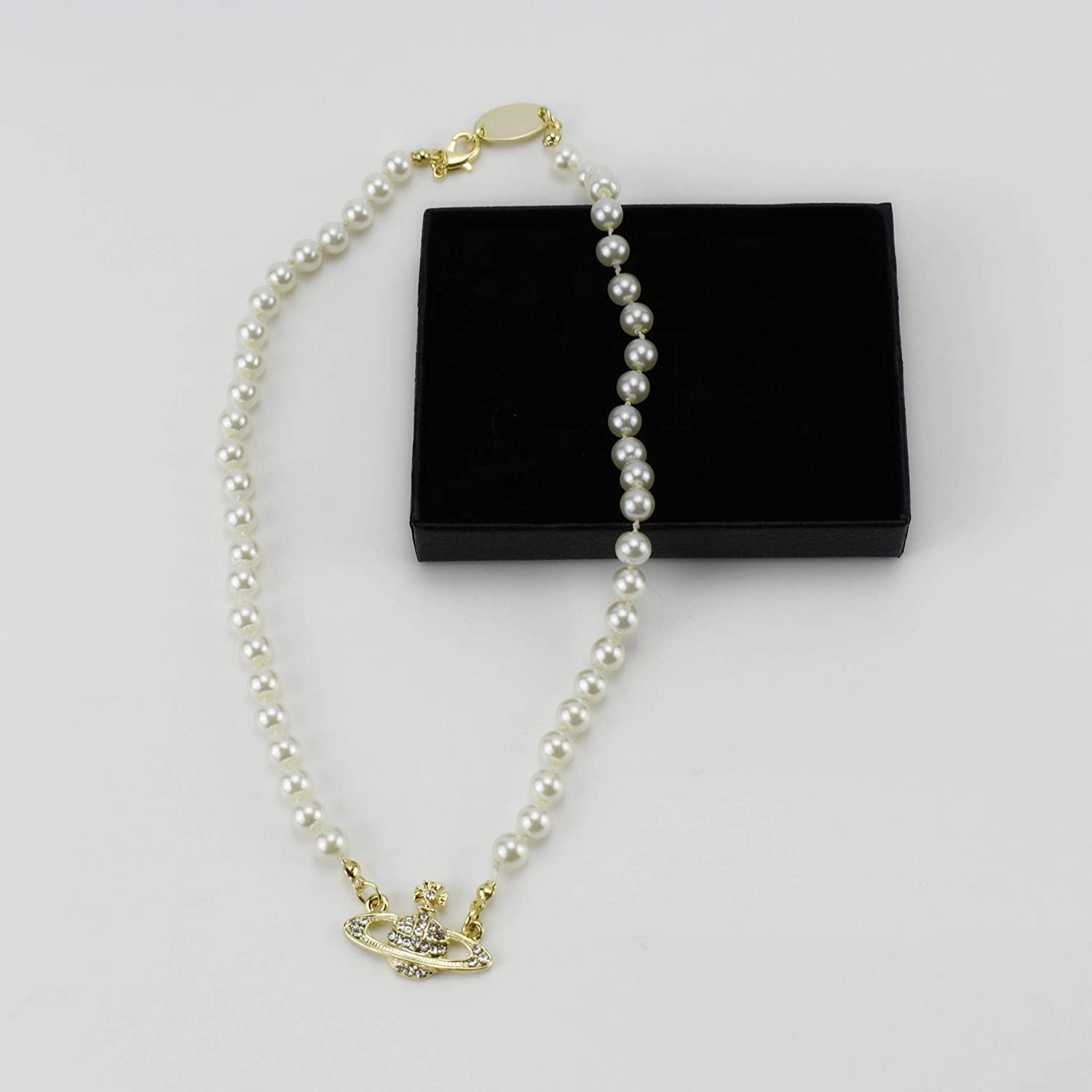 FENLDY Rhinestone Faux Planet Saturn Pearl Necklace for Women Jewelry, Fake Pearl Collar Pendant a Necklace Men with Charm for Girls Y2k Jewelry Ladies' Wedding Pearl Bead Chain Crystal Choker
