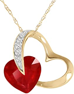 14K Solid Yellow Gold Heart Design Necklace with 7.1 Ct Ruby & Natural Diamond