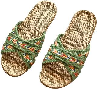 Ladies Linen Slippers, Summer Home Wooden Floor Slippers, Non-Slip Linen, Breathable Deodorant, Antibacterial Outdoor Patio Slippers