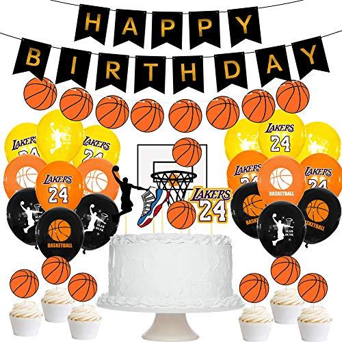 BAIBEI Decoraciones para Fiestas de Baloncesto,HAPPY BIRTHDAY Pancartas de Baloncesto,Decoraciones de fiesta de Baloncesto Decoraciones de cumpleaños para niños