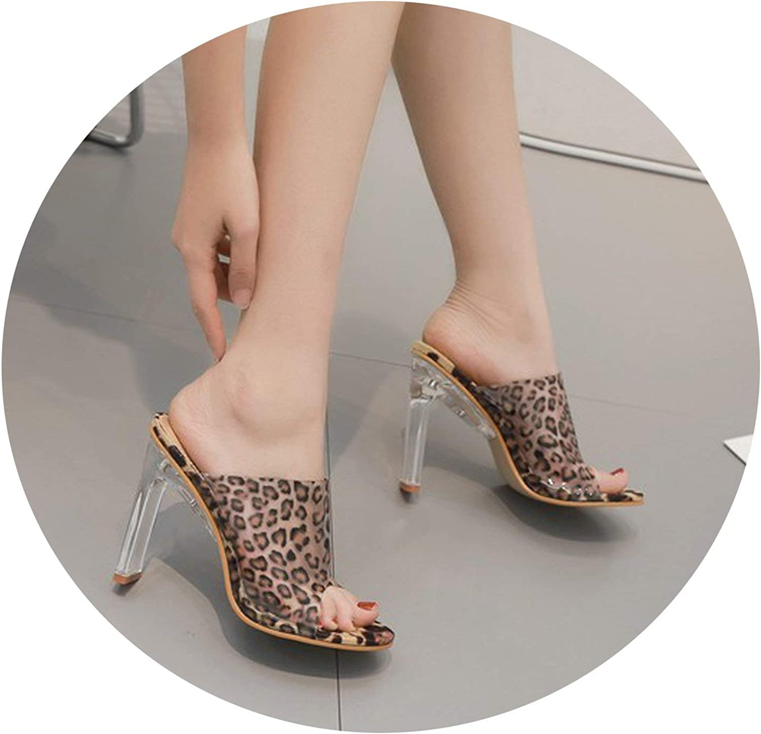 New face Women Leopard Print Clear Transparent Sandals Perspex Thick Block High Heel Summer Open Toe Sandals Fetish Party shoes