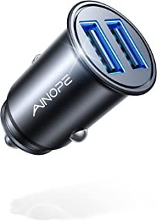 Car Charger, AINOPE 4.8A All Metal Car Charger Adapter Mini Flush Fit USB Car Charger Dual Port Charging Compatible with i...
